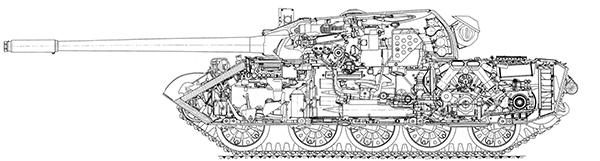 Продольный разрез танка Т-55