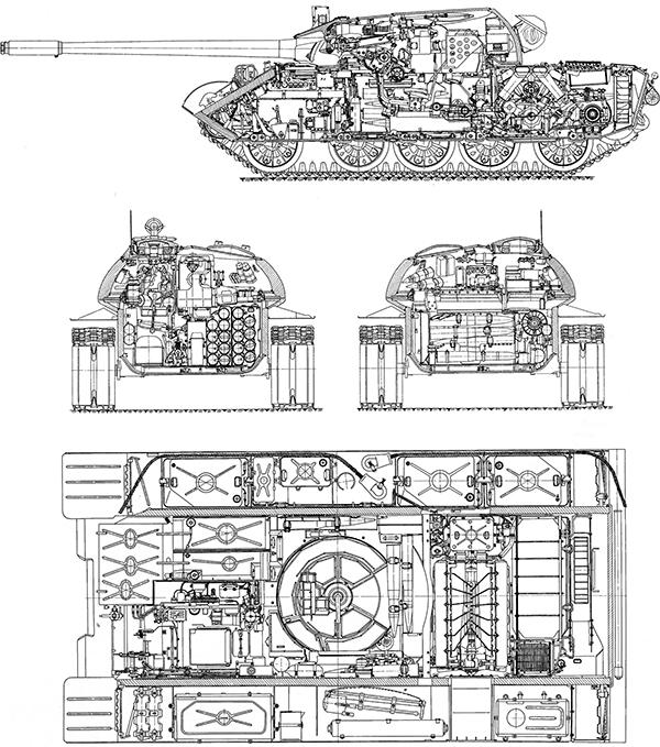 Продольный и поперечный разрезы танка Т-55К.  Командирский танк Т-55К. Вид в плане.