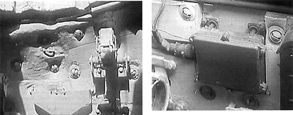 Крепление подбоя в районе радиометрического блока защиты РБЗ-1М системы ПАЗ танка Т-55А.
