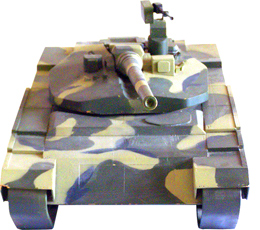 """Maquette en bois 1:10 du char """"Object 490A""""."""