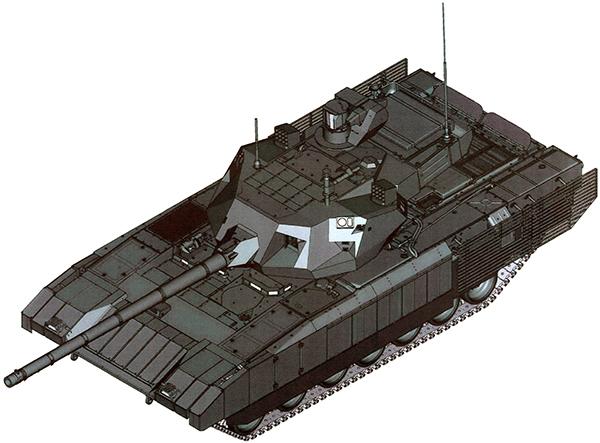 Комплекс защиты танка от ВТО  По периметру башни размещены индикаторы лазерного облучения и ультрафиолетового излучения (система обнаружения пуска ракеты).   Под передними индикаторами облучения и пуска ракет размещены РЛС с ФАР обнаружении и целеуказания КАЗ.