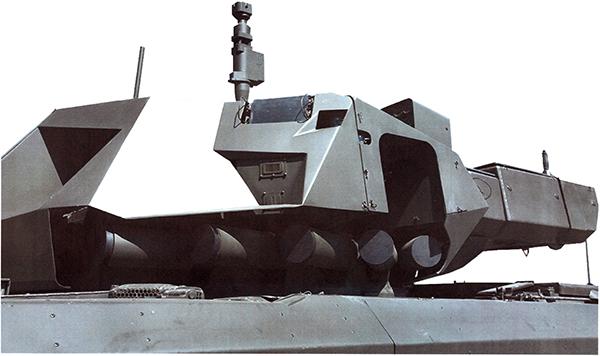 Под блоком РЛС установлены пусковые установки КАЗ. КАЗ «Афганит» является развитием системы «Дрозд».