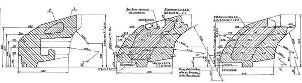 Фрагмент чертежа башни танка Т-64 объект 434 с указанием толщин стальных преград и наполнителя